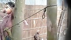 Village Bhabhi bathing open topless and bangladeshi